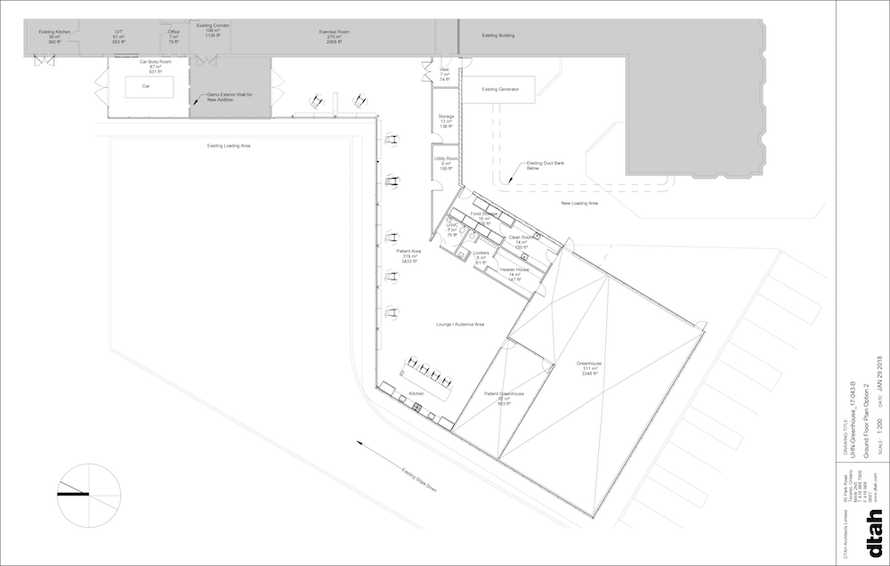 Figure 2: Renderings of the greenhouse and patient area (one or three design options) -